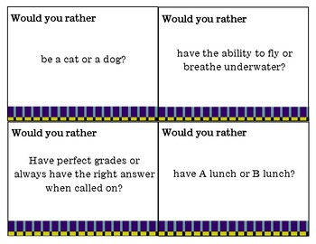 Would You Rather? 1st Day Activity for Middle School