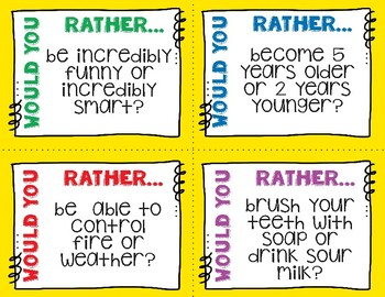 Would You Rather - 48 Task Cards, Writing Prompts, Conversation Starters