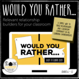 Would You Rather…Back to School Deck Warmup Bellringer Distance Learning