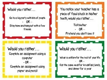 Back to School Game - Would You Rather…?