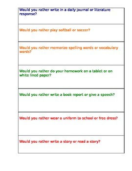 Would You Rather? Back to School Version / Oral Language