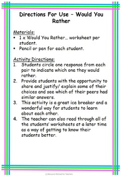 Would You Rather ... Back to School or End of Year Fun, Printable Worksheet