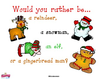 Would You Rather Be A Reindeer, Elf, Snowman, or Gingerbre