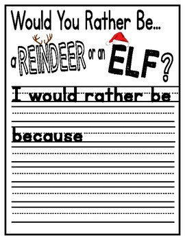Would You Rather Be A Reindeer or An Elf? Opinion Writing Bulletin Board