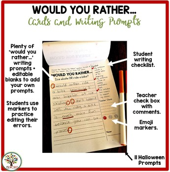 Would You Rather Writing Prompts and Task Cards