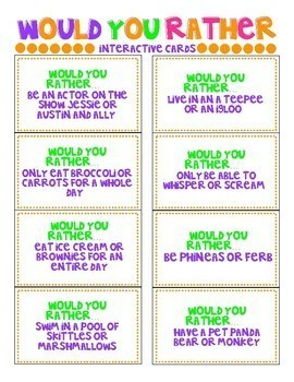 Back to School Activity - Would You Rather Cards
