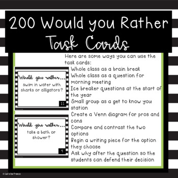 Would You Rather Cards, Getting To Know You Activity