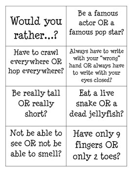 Would You Rather? Game Cards and Directions