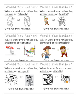 Would You Rather: Character Trait Game