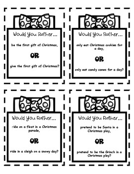 Would You Rather...? Printer Friendly Christmas Cooperative Learning Activity