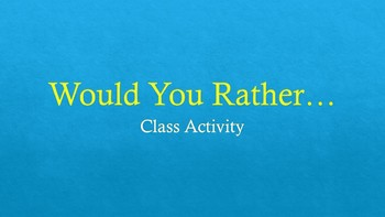 Would You Rather... ASL Class Activity!  (Fun for ALL Levels!)