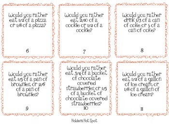Would You Rather? Comparing Fractions Pack