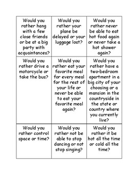 Would You Rather Conversation Starters