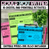 Would You Rather - Digital and Printable Activities #UPPERELEMENTARYDEALS