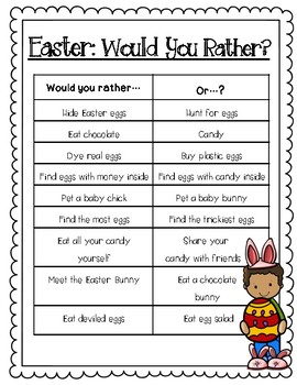 """Easter """"Would You Rather"""" FREEBIE"""