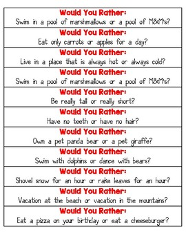 Would You Rather? Fact and Opinion Activity