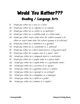Would You Rather? Freebie