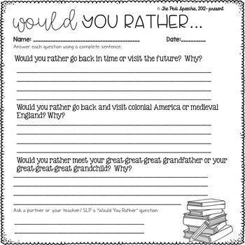 Would You Rather Questions | Beginning of the Year Activities | Would You Rather