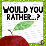 Would You Rather Questions Beginning of the Year Activities