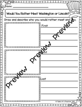 Would You Rather Meet Washington or Lincoln ~ Writing Activity