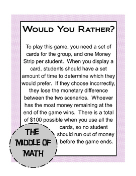 Would You Rather? Monetary Incentives