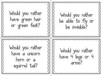 Would You Rather…Morning Meeting Community Builder Questions