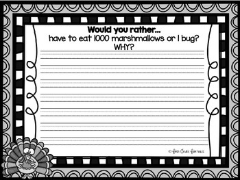 Would You Rather? November Journal Prompts FREEBIE