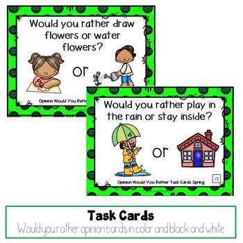 Would You Rather Opinion Task Cards Spring