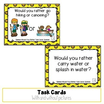 Would You Rather Opinion Task Cards Summer