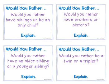 Would You Rather... - Opinion Writing Prompt Cards
