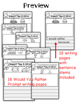 Would You Rather Opinion Writing Prompts