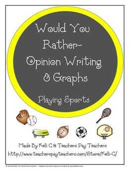 Opinion Writing and Graphs for Sports (Fits CCSS W.1.1 and W.2.1)