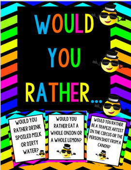 Would You Rather-Question Cards & Writing Response Pages