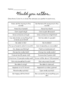 Would You Rather Questionnaire