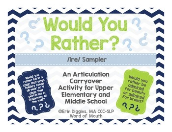 Would You Rather Sample IRE: A Carryover Activity for Older Students