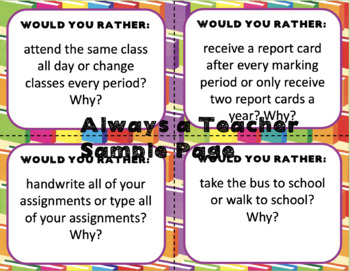 Would You Rather: School Edition