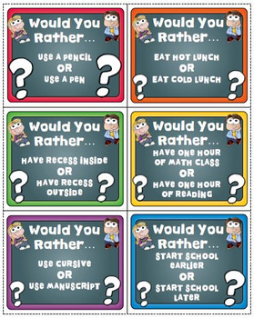 Would You Rather School Edition Question Cards