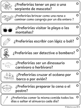 Spanish Opinion Writing Prompts: Would You Rather? Que preferirias? Escritura