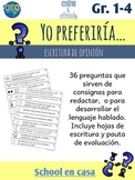 Spanish Opinion Writing Prompts: Would You Rather? Que pre