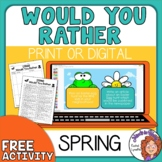 Would You Rather Spring and Easter! Freebie