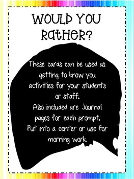Would You Rather? Staff or Student Get to Know You Moral Booster