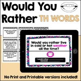 Would You Rather TH articulation language social cards
