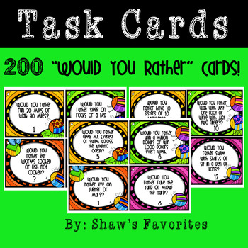 Would You Rather Task Cards {200 Task Cards!!!}