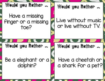 Would You Rather ... Task Cards