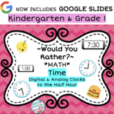 Would You Rather - Time to the Nearest Hour & Half Hour - Math Talks & Centers