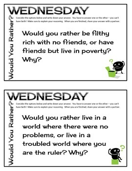 Would You Rather Wednesday - Full Year of Weekly Thinking Warm Ups (Grade 6-12)