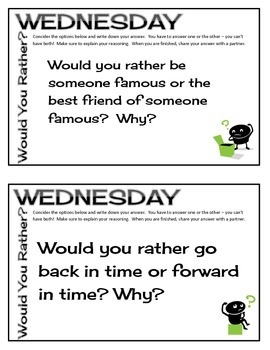 Would You Rather Wednesday - Full Year of Weekly Thinking Warm Ups (Grades 3-5)