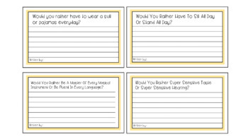 Would You Rather Writing Prompts Task Cards and Presentation x 56