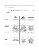 Would You Rather- minute to win it - my opinion rubric