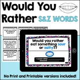 Would You Rather Articulation Conversation Cards: /s/ /z/ & /s/ blends